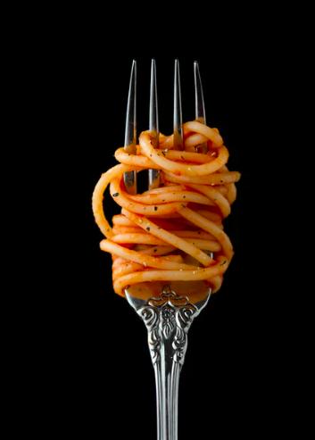 Gabel mit Spaghetti